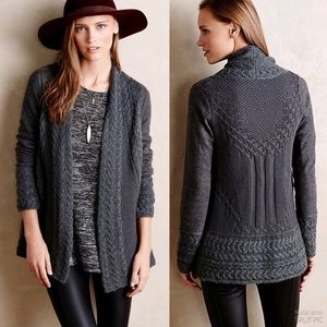 Anthropologie Regan Cables Chunky Cardigan Sweater